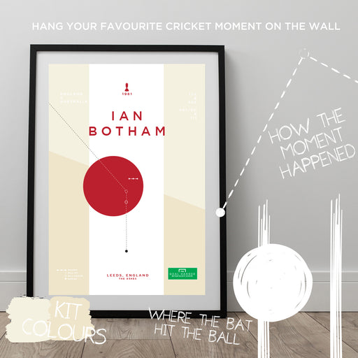 Infographic England cricket print illustrating the moment Ian Botham compled a century for England in the 1982 Ashes