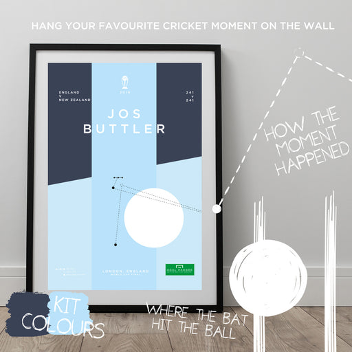 Infographic cricket poster illustrating Jos Buttler winning the 2019 Cricket World Cup for England. The perfect gift for any England cricket fan