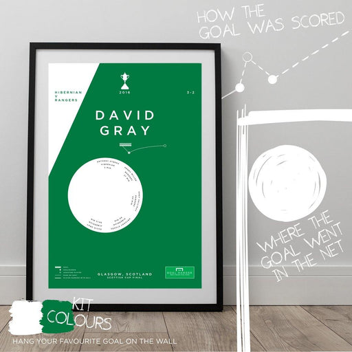 Football art print mapping out David Gray scoring a winning goal for Hibernian against Rangers in the 2016 Scottish Cup final. The perfect gift idea for any Hibs fan. Hang your favourite football goal on the wall with The Goal Hanger's abstract football goal posters.