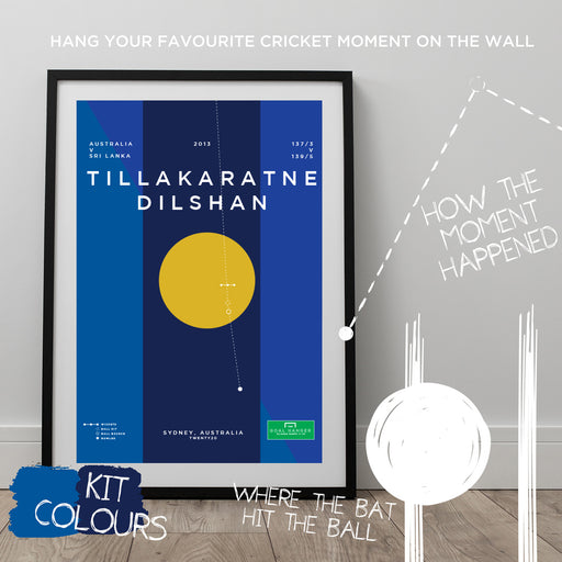 Infographic cricket poster illustrating Dilshan hitting a superb ramp shot for Sri Lanka.