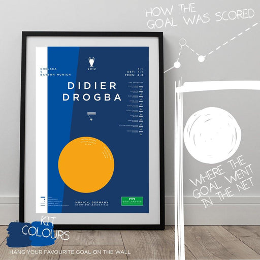 Infographic Art Print of Didier Drogba's Champions League winner for Chelsea against Bayern Munich. The ideal gift idea for any Chelsea fan. Hang your favourite football goal on the wall with our abstract football art posters.
