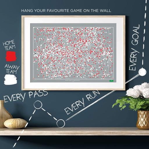 England v Germany 1996 - The Goal Hanger. Infographic football artwork