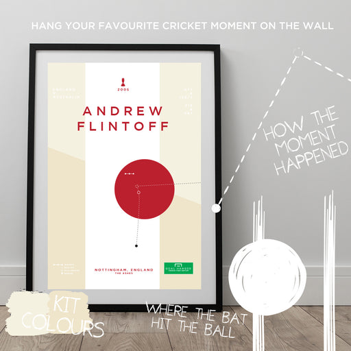 Infographic cricket poster illustrating Andrew Flintoff completing a superb century for England at the Ashes