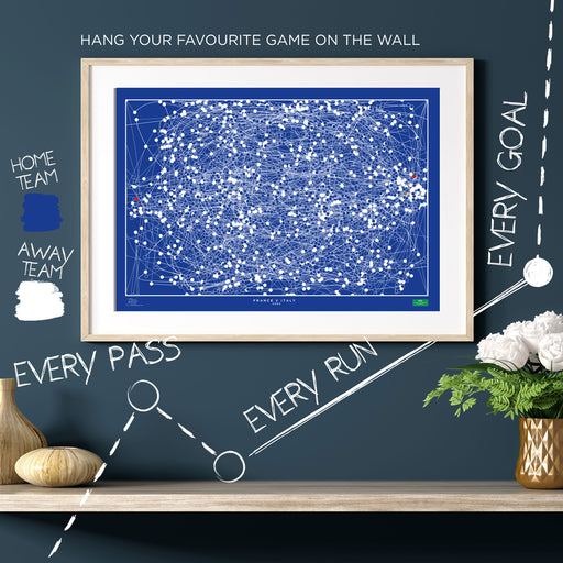 Infographic football print illustrating all of the action in the 2000 European Championships final where France won the Euro's