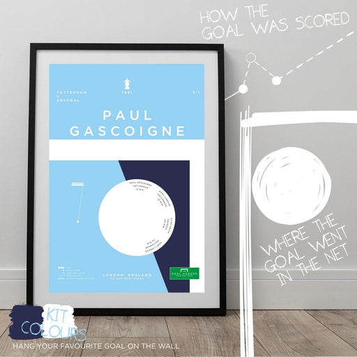 Football art print illustrating Paul Gascoigne's iconic free kick for Tottenham against Arsenal in the FA Cup. The perfect gift idea for any Spurs fan. What is the greatest Tottenham goal of all time? Hang it on your wall with The Goal Hanger's infographic football posters.