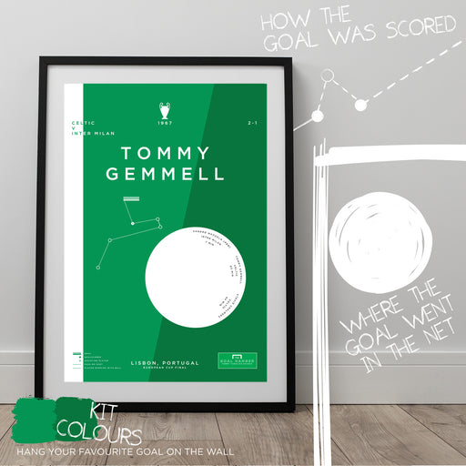 Data inspired football artwork illustrating the moment Tommy Gemmell scored for the Lisbon Lions in 1967 a won Celtic the European title