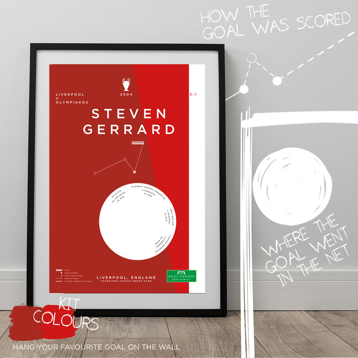 Football art poster illustrating Steven Gerrard's iconic goal for Liverpool against Olympiakos in the Champions League. The perfect gift idea for any Liverpool football fan.