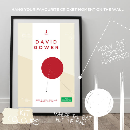 Infographic cricket poster illustrating David Gower scoring a superb century for England at the 1985 ashes