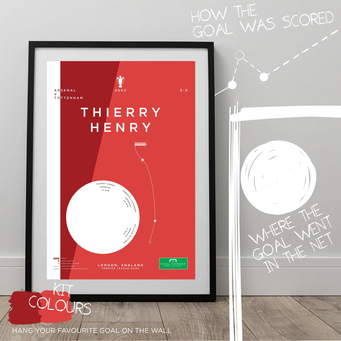 Infographic football art print mapping out Thierry Henry scoring a superb solo goal for Arsenal against Tottenham in the 2002 Premier League season. The perfect gift idea for any Arsenal fan. Hang your favourite goal on the wall with The Goal Hanger's abstract football posters.