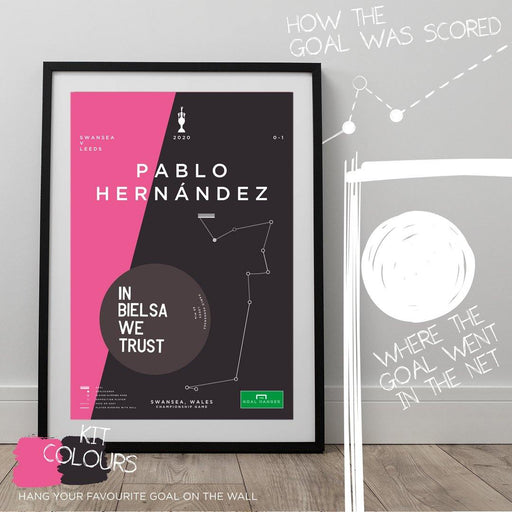 Infographic football art print illustrating Pablo Hernandez's goal for Leeds Utd against Swansea in the 2020 Championship to gain promotion. The perfect gift idea for any Leeds Utd fan. What is the greatest Leeds goal of all time? Hang it on the wall with The Goal Hanger's infographic football posters.