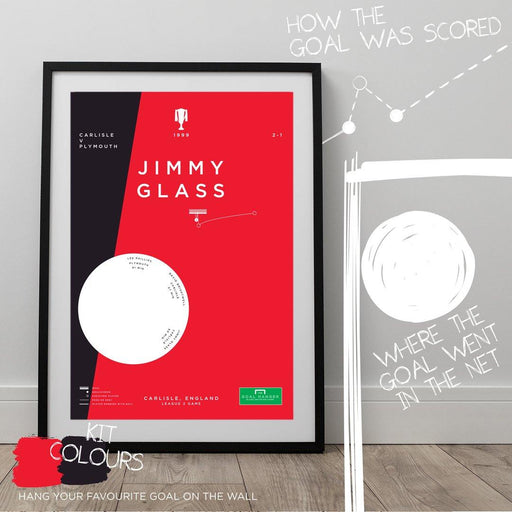 Football art poster illustrating Jimmy Glass scoring an iconic last minute goal for Carlisle. The perfect gift idea for any Carlisle football fan.