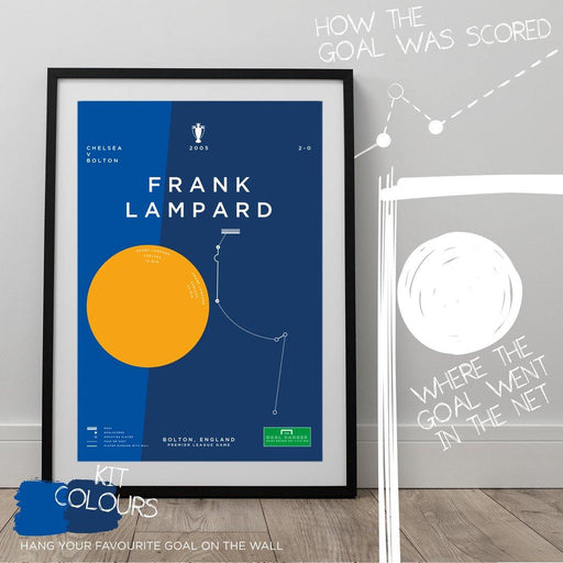 Football art poster illustrating Frank Lampard scoring a Premier League winning goal for Chelsea against Bolton in 2005. The perfect gift idea for any Chelsea football fan.