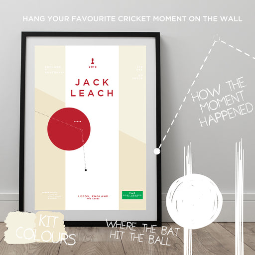 Infographic Cricket poster celebrating the unsung hero of the 2019 Ashes for England: Jack Leach