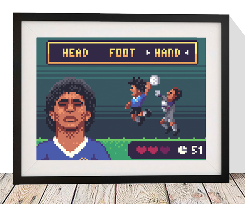 The Goal Hanger Gallery: 8 Bit Football, Maradona. Head. Foot. Hand.