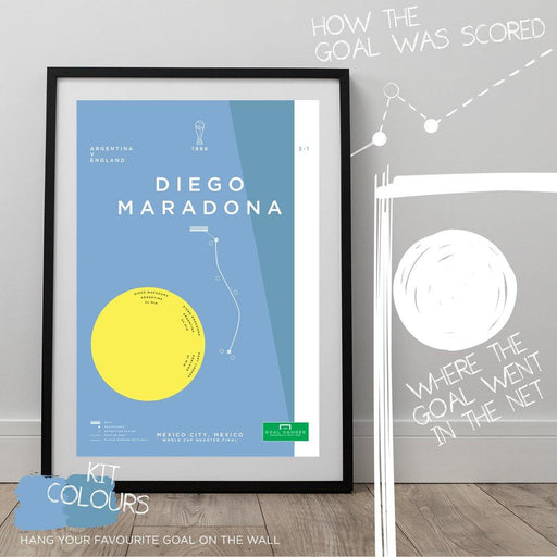 Football art print mapping out Diego Maradona's iconic run solo goal for Argentina against England at the 1986 World Cup. The perfect gift for any Argentina football fan. What is your favourite ever football goal? Hang it on the wall with The Goal Hanger's abstract football posters.
