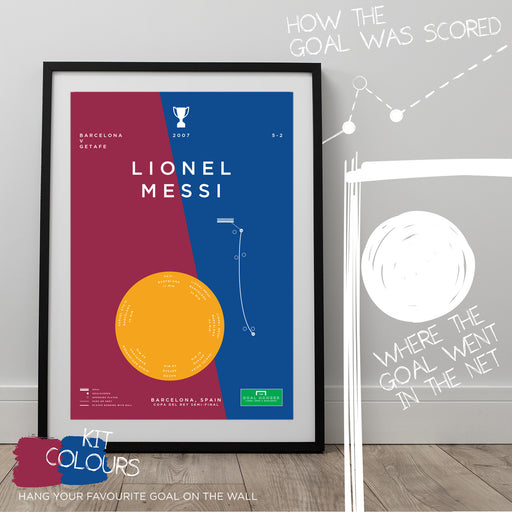 Football art poster illustrating Lionel Messi's iconic solo goal for Barcelona against Getafe in La Liga. The perfect gift idea for any Barcelona football fan.