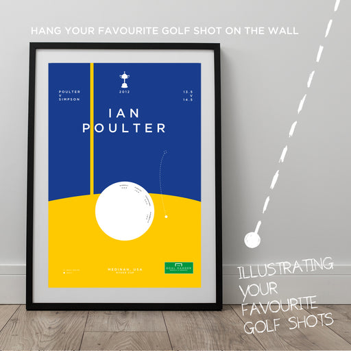 Infographic golf art print illustrating Ian Poulter holing a famous put at the 2012 Ryder cup