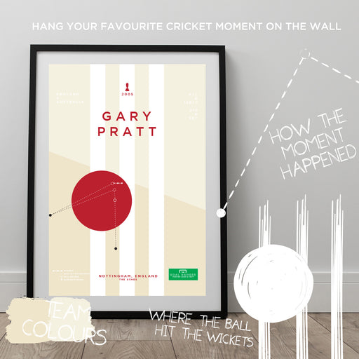 Infographic cricket poster illustrating Gary Pratt getting a superb run out for England in the 2005 Ashes.