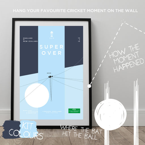 Infographic cricket poster illustrating every England ball in the 2019 World Cup Super Over