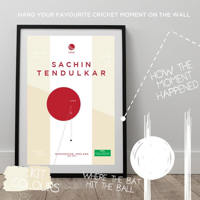 Infographic cricket print illustrating Sachin Tendulkar completing his first century for England against India