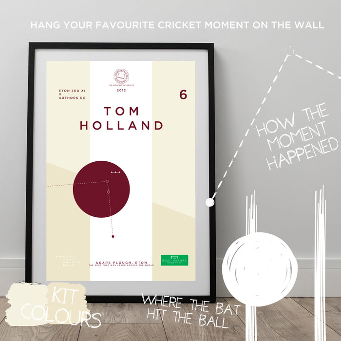 Infographic Cricket Poster illustrating Tom Holland hitting a superb shot. The ideal gift for any Cricket fan.