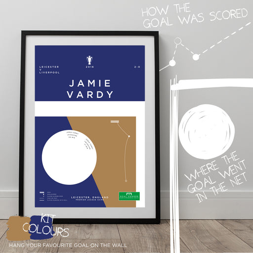 Infographic football artwork illustrating Jamie Vardy scoring for Leicester against Liverpool in the 2016 Premier League