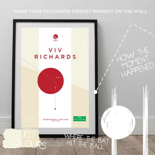 Infographic cricket poster illustrating Viv Richards scoring a superb innings for England against Sri Lanka