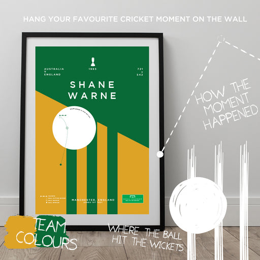 Infographic cricket poster illustrating Shane Warne's ball of the Century in the 1993 Ashes