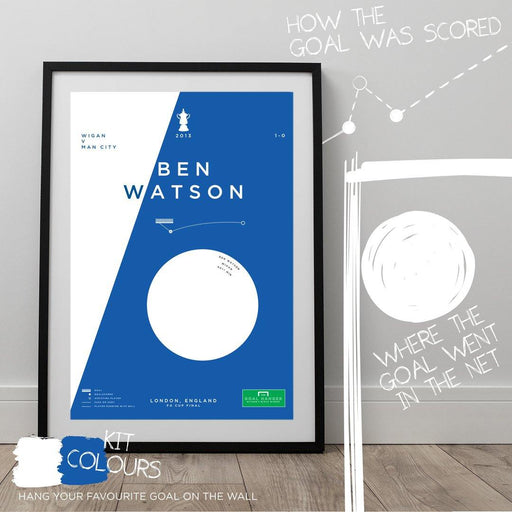 Football art poster illustrating Ben Watson's iconic header goal for Wigan in the 2013 FA Cup Final. The perfect gift idea for any Wigan football fan.