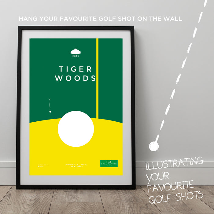 Infographic golf art print celebrating Tiger Woods holing a famous put to claim redemption in 2019