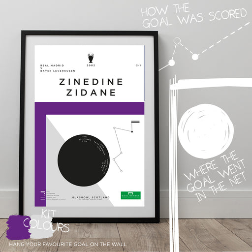 Football art poster illustrating Zinedine Zidane's iconic volley for Real Madrid in the 2002 Champions League final. The perfect gift idea for any Real Madrid football fan.