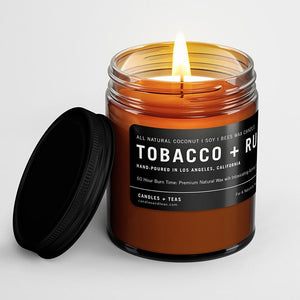 Naturally Calming Aroma Candle: Tobacco Rum in Coconut Soy Wax