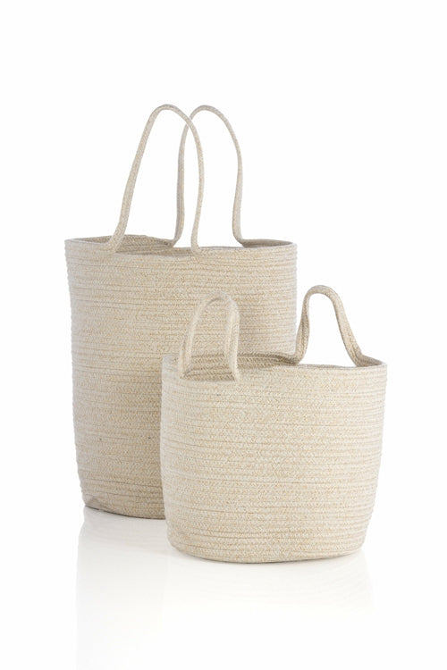 ASSORTED SET OF 2 GOLDIE  BASKETS, GOLD