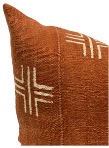 Mudcloth Cream Crosses on Rust-Brown Pillow Cover