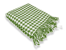Load image into Gallery viewer, Cashmere Wool Houndstooth Throw - Sage