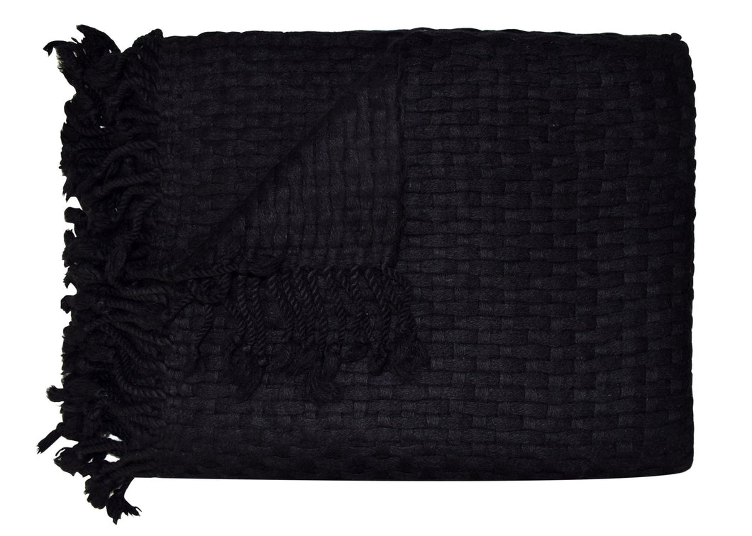 The Basketweave Cashmere - Black