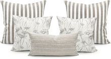 Load image into Gallery viewer, White Bride Stripe on Natural Linen Lumbar Pillow Cover