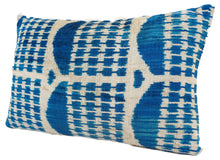 Load image into Gallery viewer, FUN BLUE- IKAT SILK/VELVET PILLOW