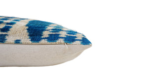FUN BLUE- IKAT SILK/VELVET PILLOW