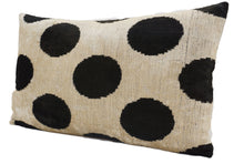 Load image into Gallery viewer, BUNKER BLACK POLKA DOTS - IKAT SILK/VELVET PILLOW