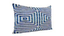 Load image into Gallery viewer, CERULEAN BLUE - IKAT SILK/VELVET PILLOW