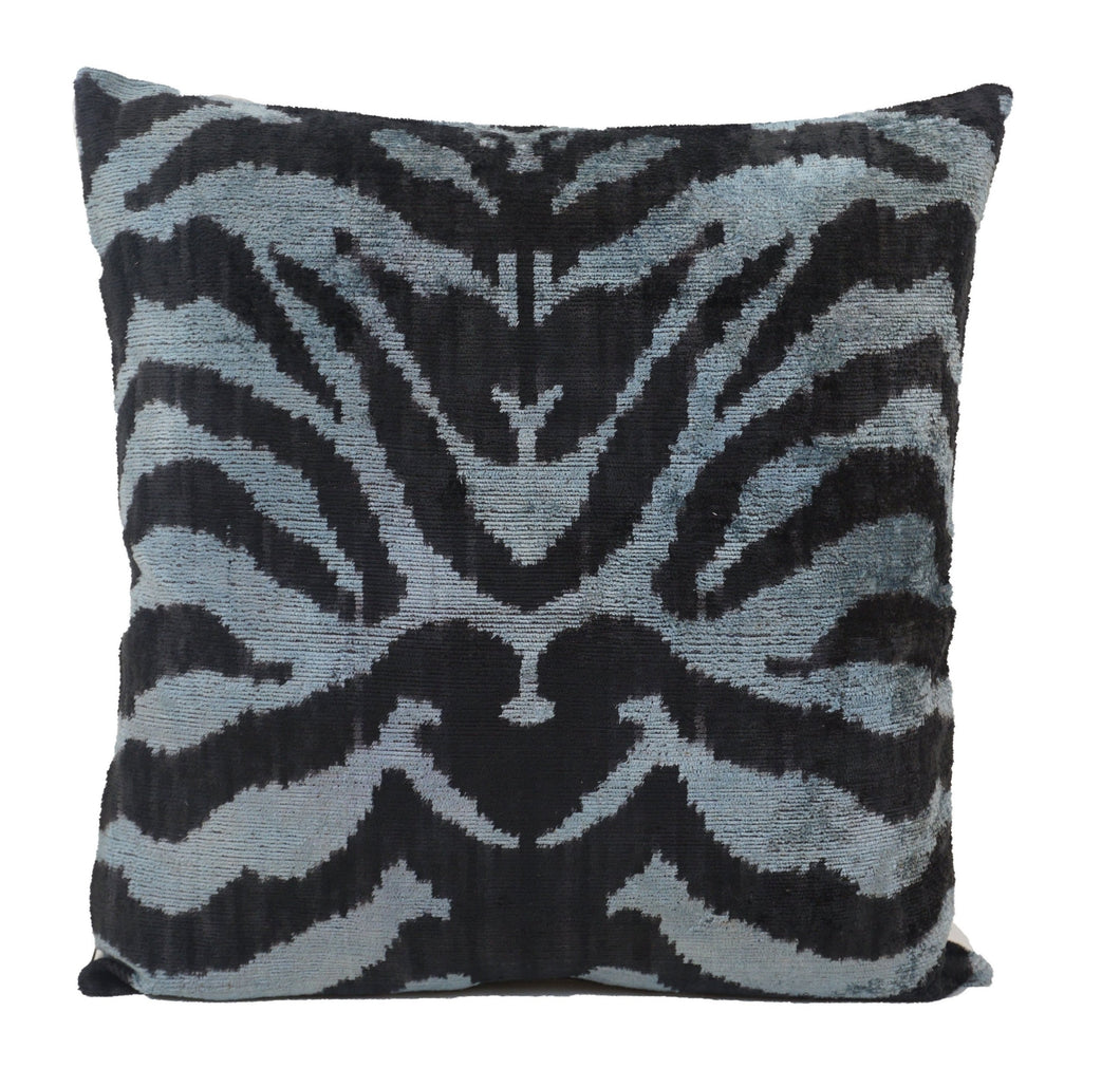 BLACK ZEBRA- IKAT SILK/VELVET PILLOW