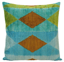 Load image into Gallery viewer, Brown Bramble - IKAT SILK/VELVET PILLOW