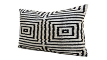 Load image into Gallery viewer, ETERNITY BLACK- IKAT SILK/VELVET PILLOW