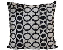 Load image into Gallery viewer, BLACK EYES- IKAT SILK/VELVET PILLOW