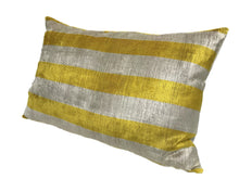 Load image into Gallery viewer, GOLD TIPS STRIPS  - IKAT SILK/VELVET PILLOW