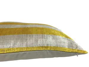 GOLD TIPS STRIPS  - IKAT SILK/VELVET PILLOW
