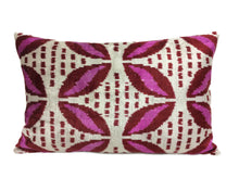 Load image into Gallery viewer, CLARET RED - IKAT SILK/VELVET PILLOW