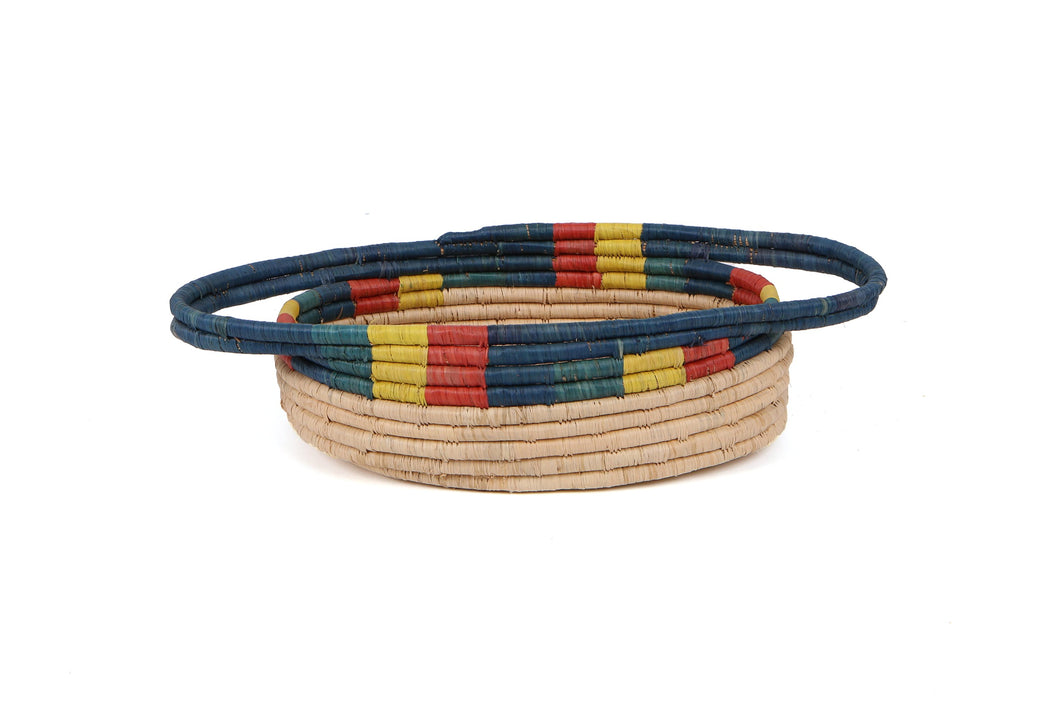 Color Blocked Dipped Raffia Oval Basket