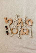 Load image into Gallery viewer, Dinosaur: Macrame All-Natural Wooden Teether + Essential Oil Blend